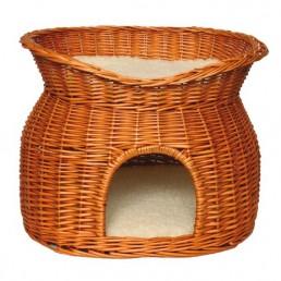 Igloo per gatti in vimini con tetto