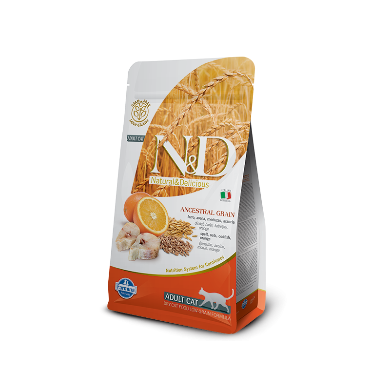 Farmina N&D Low-Grain Adult Cat con Merluzzo e Arancia per Gatti