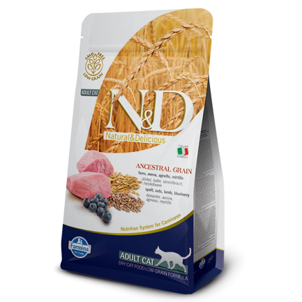 Farmina N&D Low-Grain Adult Cat con Agnello e Mirtillo per Gatti