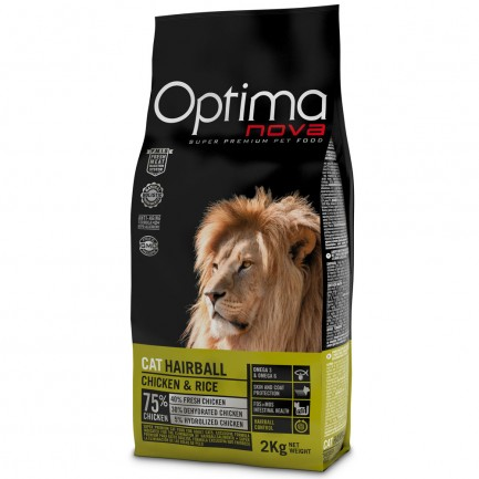 Optima Nova Cat Hairball con Pollo e Riso