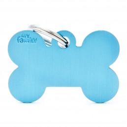 Medaglietta Osso Grande Alluminio Blu