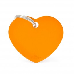 Medaglietta Cuore Grande Alluminio Arancio