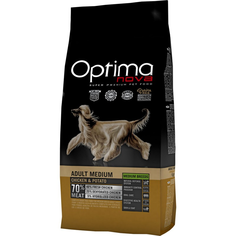 Optima Nova Adult Medium con Pollo e Patate GRAIN FREE