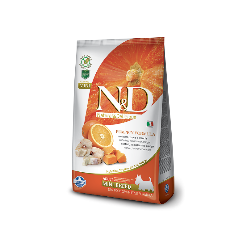 Farmina N&D Pumpkin Grain-Free Adult Mini Merluzzo e Arancia per Cani