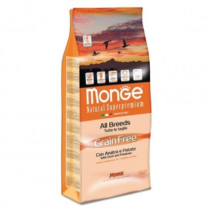 Monge Grain Free con Anatra e Patate per Cani