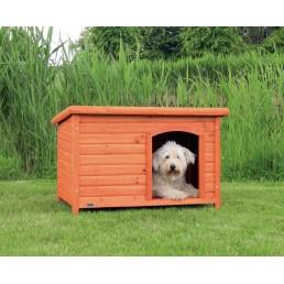 Cuccia per cani da esterno in legno con tetto piatto