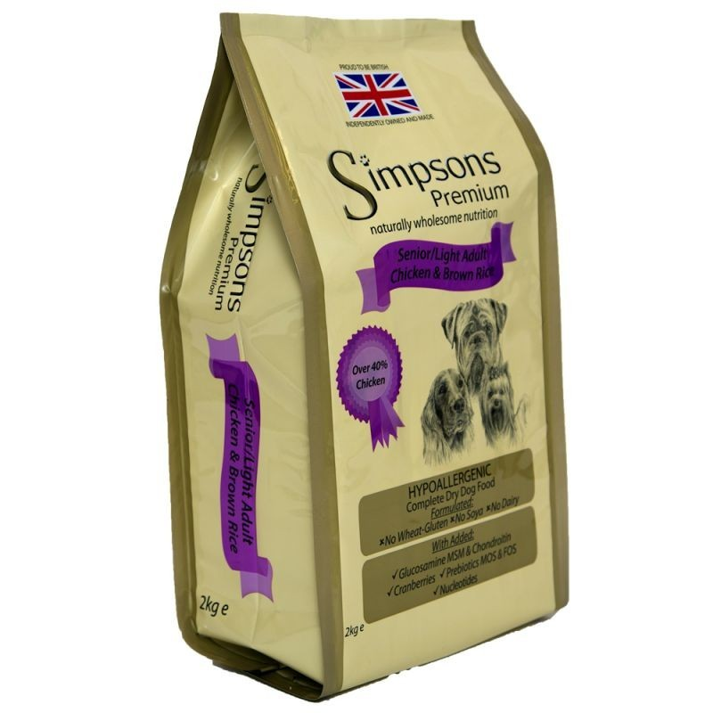 Simpsons senior light pollo riso integrale crocchette per for Crocchette per cani sterilizzati
