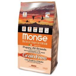 Monge Grain Free con Anatra e Patate Puppy per Cani