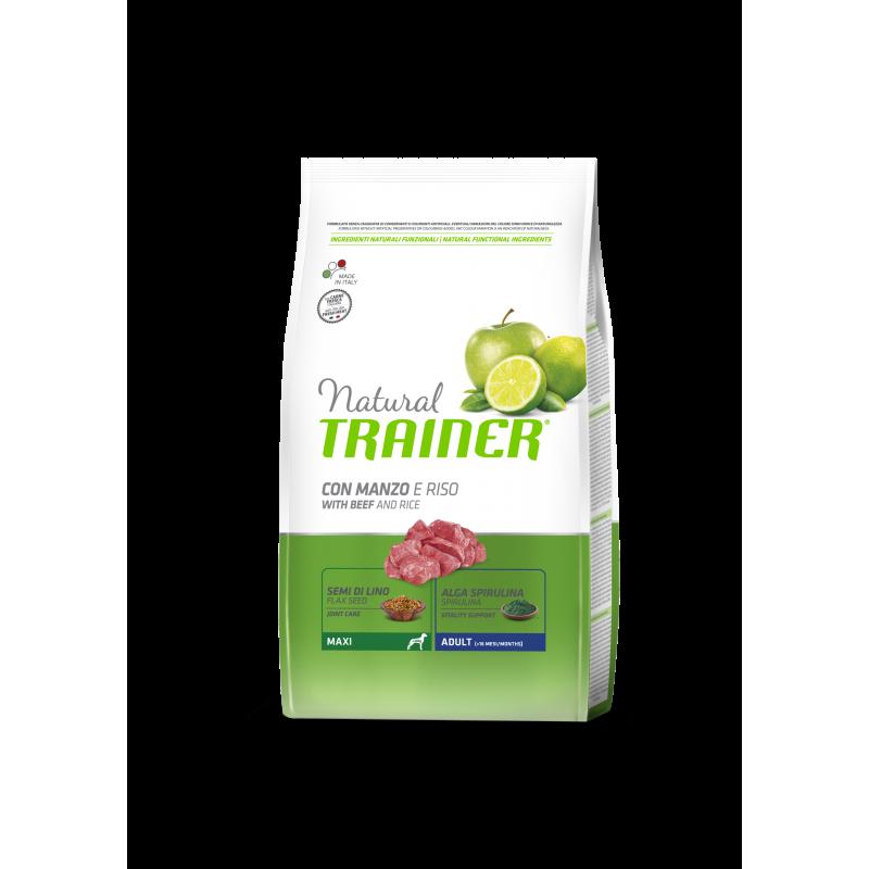 Natural Trainer Adult Maxi con Manzo, Riso e Ginseng per Cani