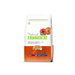 Natural Trainer Adult Medium con Pollo Fresco, Riso e Aloe Vera per Cani