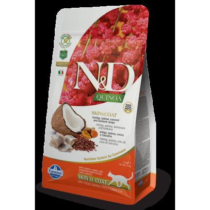 Farmina N&D Skin Coat Adult con Aringa e Quinoa per Gatti
