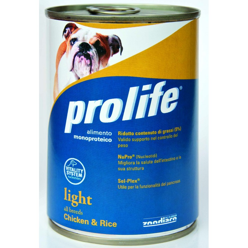 Prolife Light con Pollo e Riso Umido per Cani